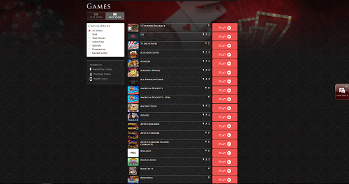 lucky red casino games library