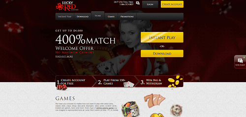 lucky red casino homepage