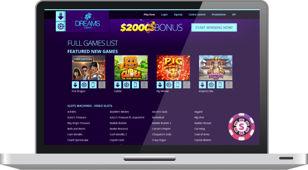 Dreams online casino Website with the latest casino games