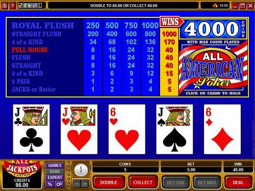enjoy all american video poker