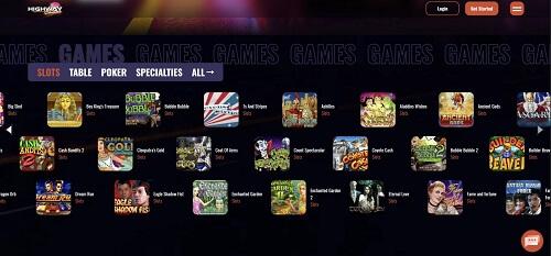 Highwat Casino Games Lobby