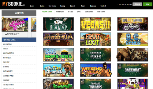 MyBookie Casino Website