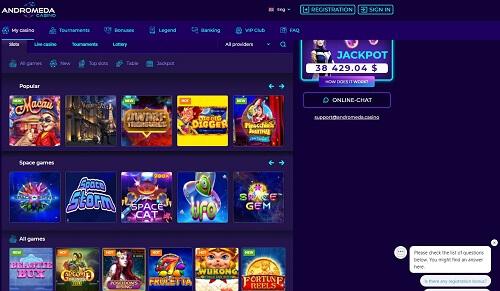 Andromeda Casino Games Lobby